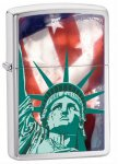 Zippo 28282 Classic Statue of Liberty Flag Brushed Chrome